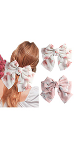 Chiffon bow barrettes hair clips (Pack of 2)