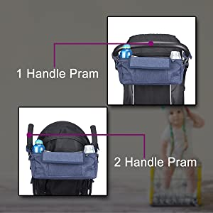 Pram organiser shown on different styles of pram handles. buggy umbrella style and single bar