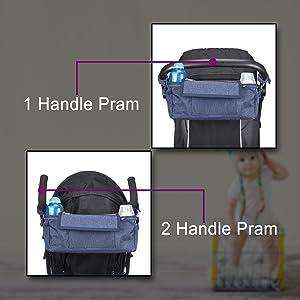 Pram organiser shown on different styles of pram handles. buggy umbrella style and single bar