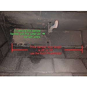 fireplace stove rectangle flue blocker draft stopper