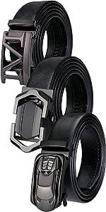 ratchet leather belt mens christmas gift car buckle removable m buckle sliding fashion gift black