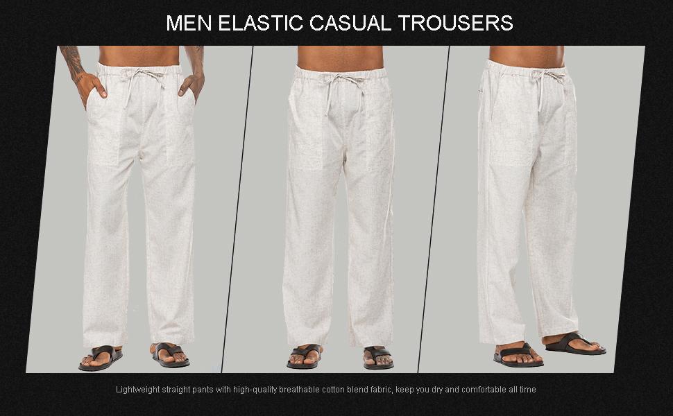 men linen pants elastic