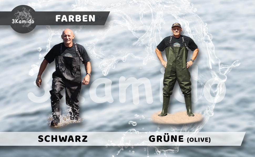 3Kamido/® Wathose Classic SCHWARZ und GR/ÜN Serie 680 Fischerhose Teichhose Hochwasserhose Anglerhose Standard