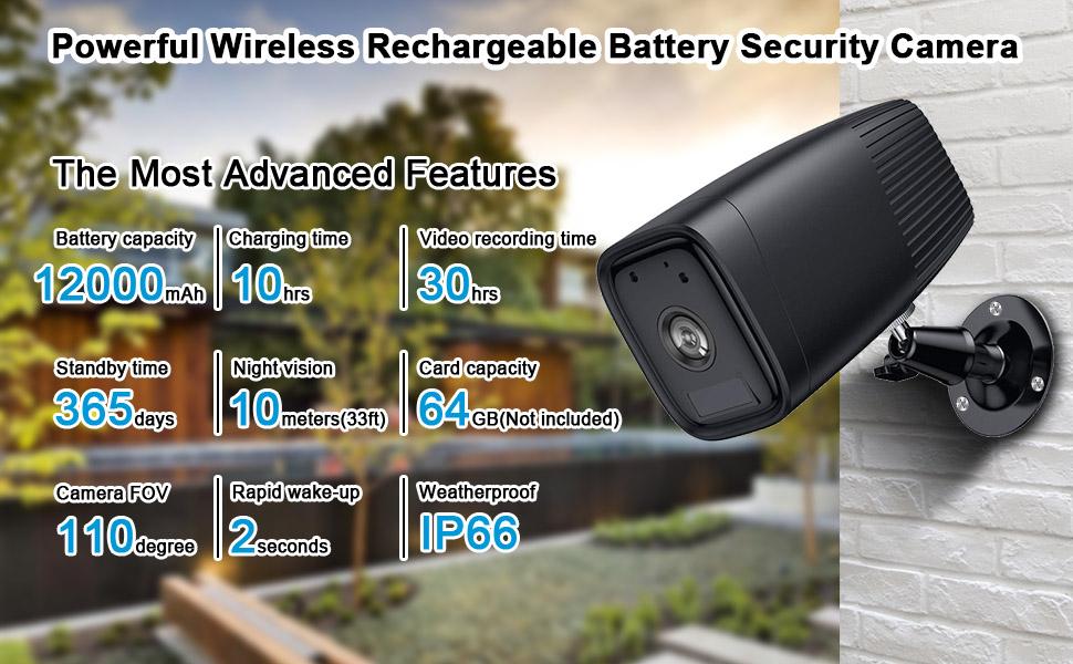 pil güvenlik kamerası, kablosuz güvenlik kamerası, açık kamera kablosuz, su geçirmez kamera