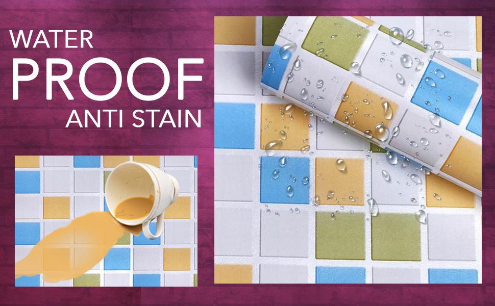 backsplash tile contact paper, wall stickers wallpaper, waterproof, anti stain, oil proof, DIY