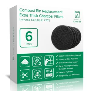 """simply carbon compost bin filter universal size 7.25"""" compost pail"""