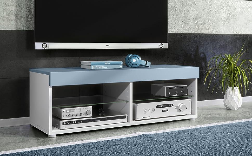 Mesa Baja para TV Pure, Cuerpo en Blanco Mate/Paneles y Parte ...