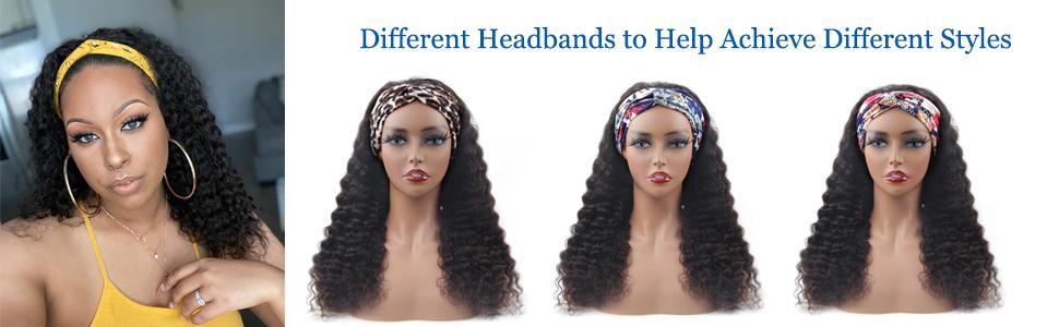 headband wigs human hair deep wave