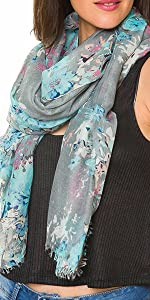 Scarf for Women Lightweight Floral Flower Scarves for Spring Fall Shawl Wrap