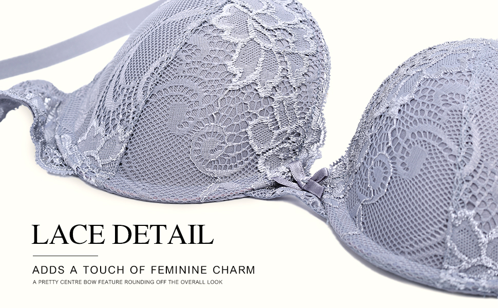 Deyllo Women's Push Up Lace Bra Comfort Padded Underwire Bra Lift Up Add One Cup …