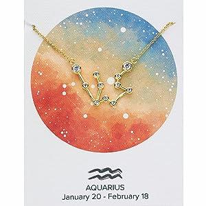 Gold Aquarius necklace, Aquarius Constellation, Aquarius sign, Constellation Jewelry