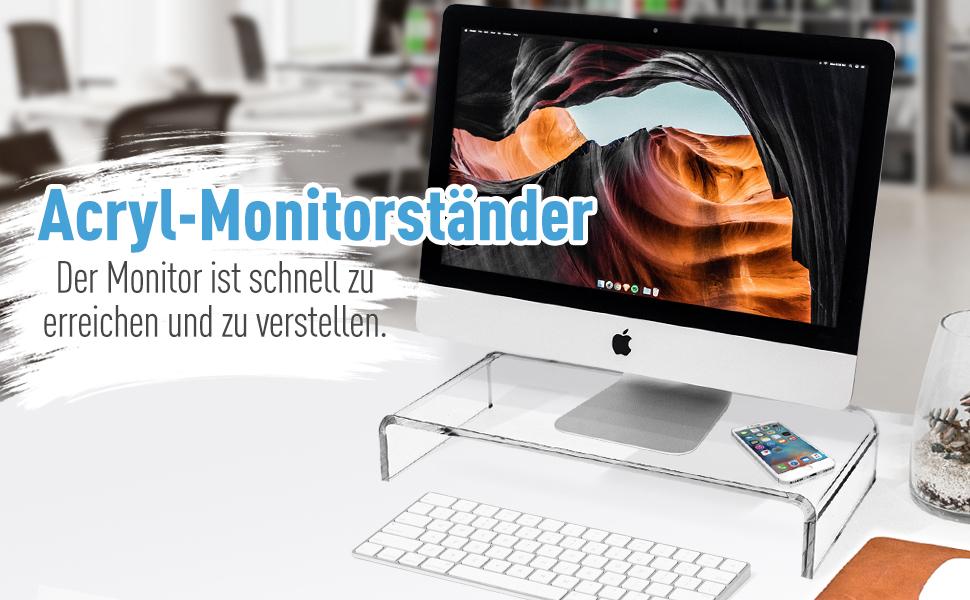 Monitorständer Bildschirmständer TV Bank Aufsatz aus Acrylglas Standfuß für TFT/LCD-Monitore