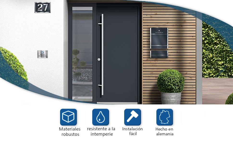 Acero inoxidable con número de casa 3D - resistente a la intemperie y fácil de limpiar - apto para exteriores - con material de montaje - terreno irregular (4): Amazon.es: Bricolaje y herramientas