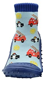 Skidders Baby Toddler First Walker Boys Grip Rubber Non-Slip Sole Flexible Shoes Firetrucks Blue/Red