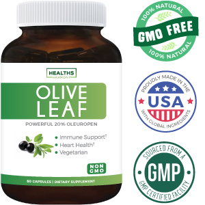 Healths Harmony Olive Leaf Extract - 20% Oleuropein - 750mg - Non GMO - Vegetarian
