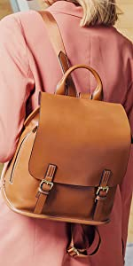 women leather backpack and casual daypack
