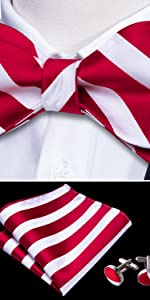 red white self tie bow tie set
