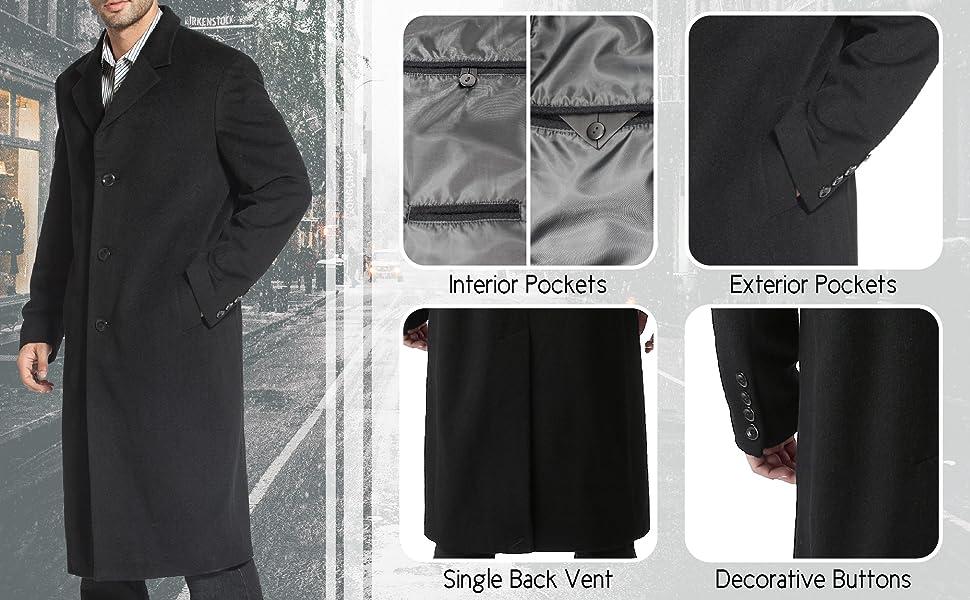 BGSD Men's Wool Coat Features