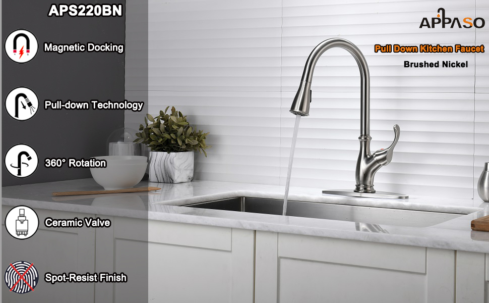 APPASO Pull Down Kitchen Sink Faucet with Magnetic Docking Sprayer, Brushed Nickel