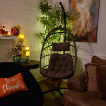 The hanging chair comfortable at night