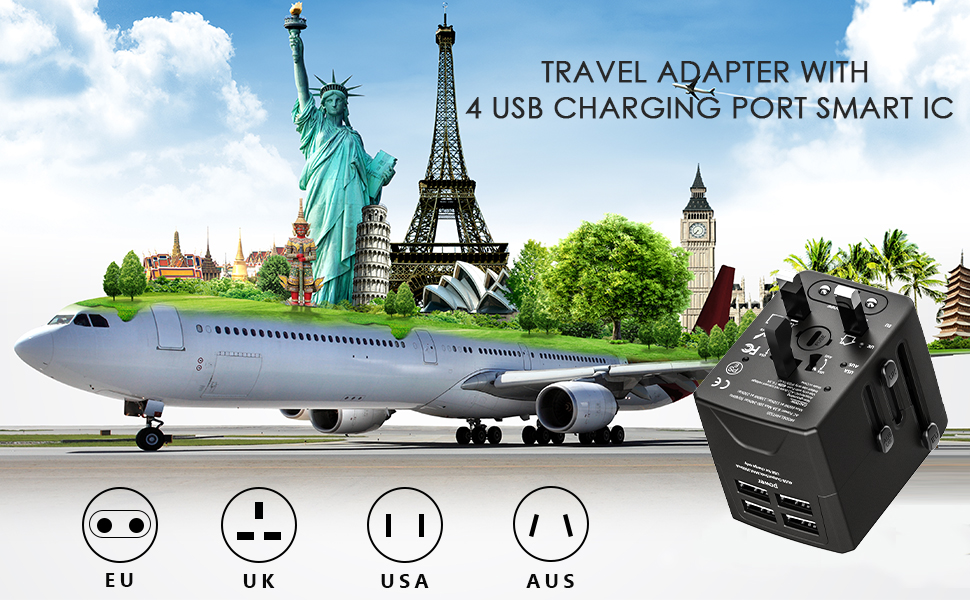 travel adapter with 4 usb charging port smart IC