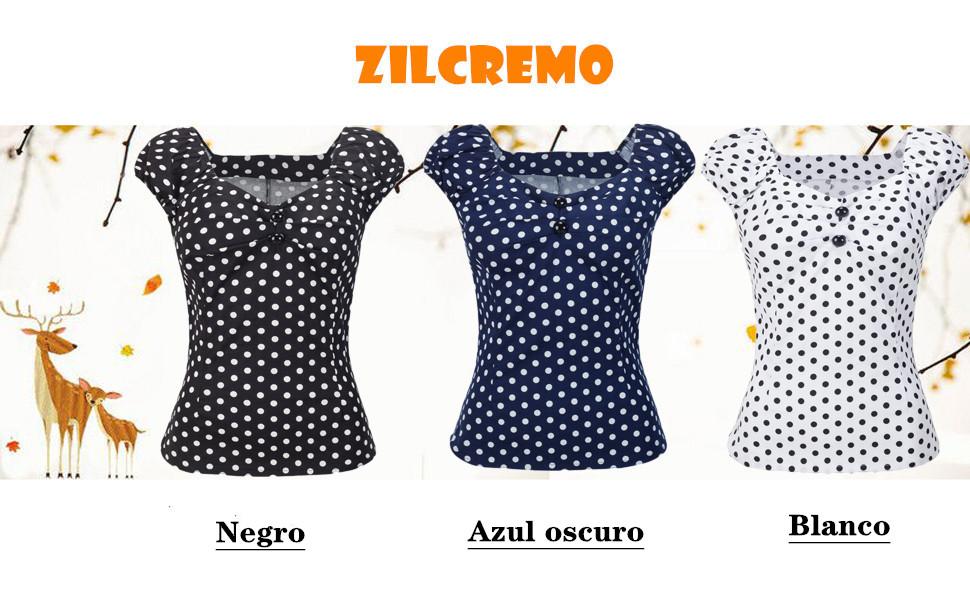 Las Mujer Vintage Algodón Polka Dot 50s Camisetas Tops Retro De ...