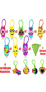 16 Mixed Bulk Kids Hand Sanitizer Keychain Carriers | 4 Fun Silicone Keychains | 1 Silicone Funnel