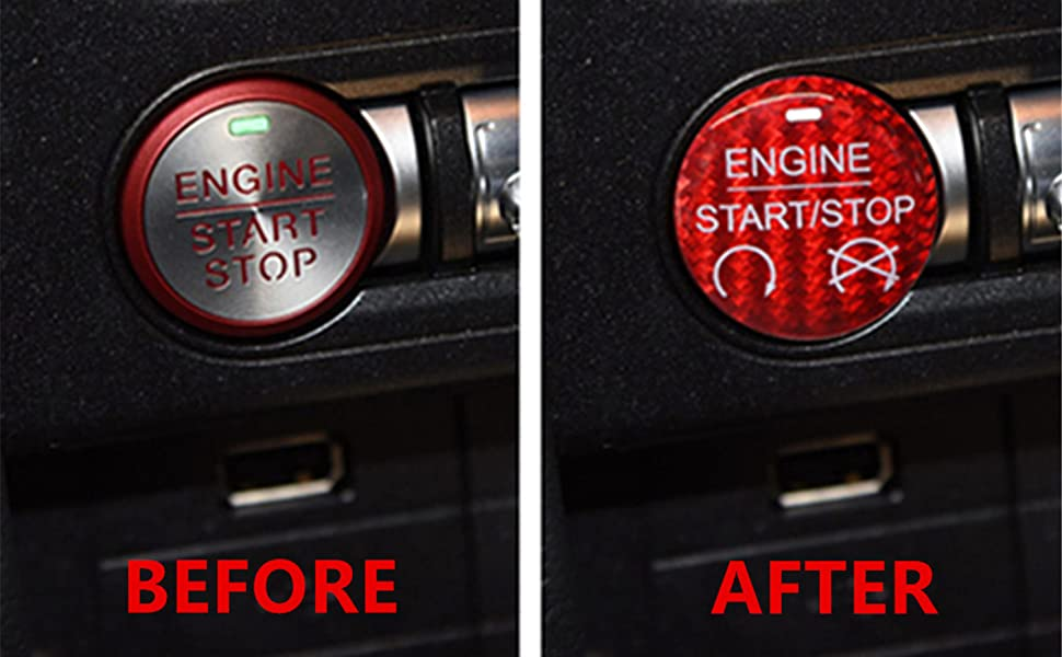 Ignition Starter Switch Sticker for Ford Edge Escort Everest Explorer F-150 Focus Mondeo Taurus Black M.JVisun Carbon Fiber Engine Start Stop Button Cover Trim for Ford