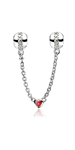 Heart Safety Chain Charms