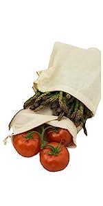muslin cloth produce cotton lettuce spinach kale carrot durable drawstring bulk solid close fresh