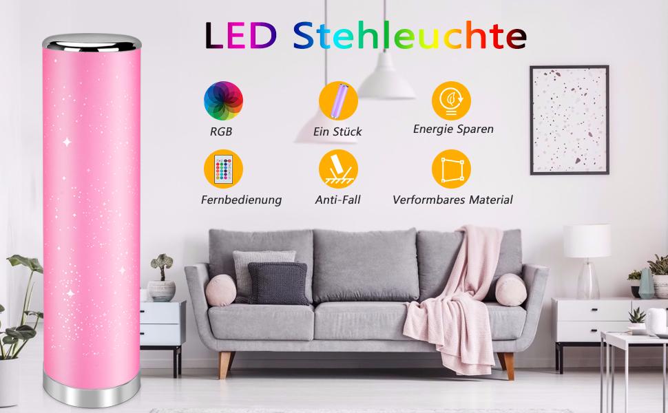 STAR Q LED Stehleuchte Stehlampe Wohnzimmer Lampe  Lichtsäule mit Stern-Effekt