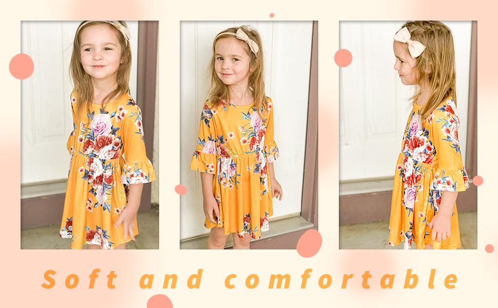 toddler kids girl floral yellow dress autumn