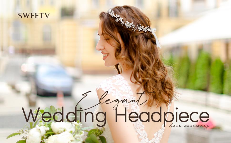 SWEETV Sliver Flower-Leaf Bridal Headpieces for Wedding