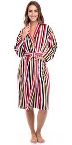 Women's Luxury Robes 100% Terry Cotton Shawl Collar Bathrobe Multi Color Striped Spa Robe Bath Robes