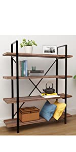 brown bookcase wood and steel