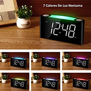 Mesqool Despertador del Dormitorio, Relojes Digitales Grandes de 7 ...