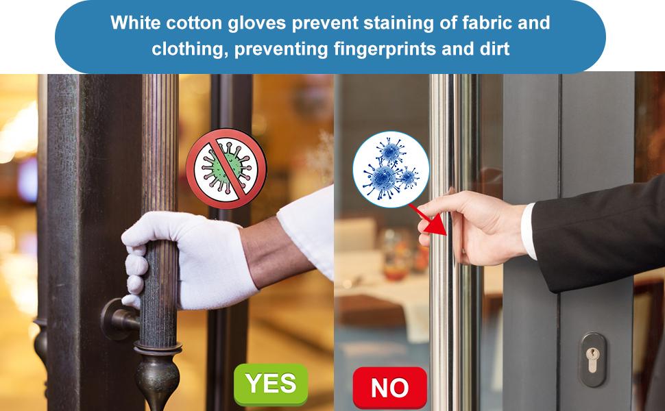 White cotton gloves prevent fingerprints