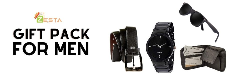 Combo pack of watch wallet belt and sunglass
