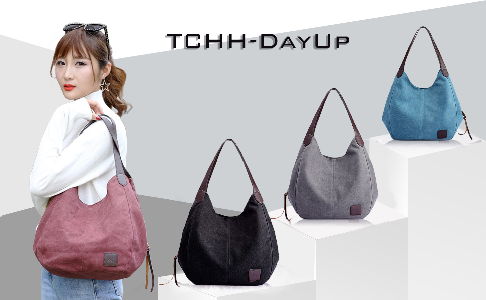 TCHH-DayUp Cotton Canvas Tote Beach Bag With Zipper Top Handle Handbag Shoulder Bags Shopping Bag