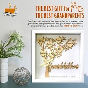 gift for grandma grandchildren shadow box family tree grandkids granddaughter grandson wood hearts