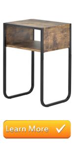 Burnt Wood & Matte Black Metal Nightstand/End Table