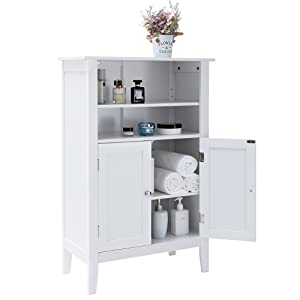 Freestanding Sideboard with 1 Large Drawer Cupboard with 2 Shelf Black,YSG009H File Cabinet for Entryway Living Room IWELL Bathroom Floor Storage Cabinet