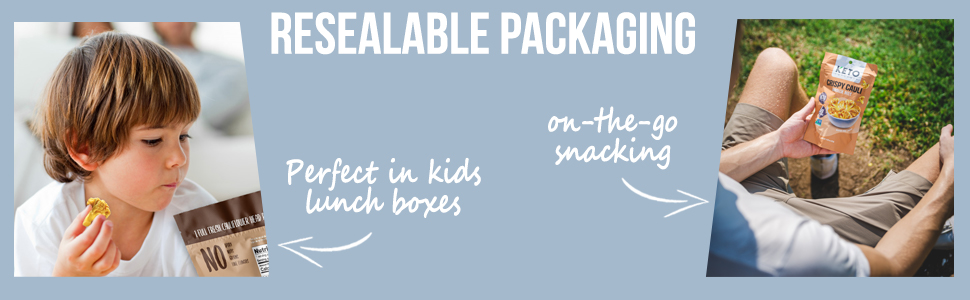 resealable packaging. Perfect in kids lunch boxes. on-the-go snacking.