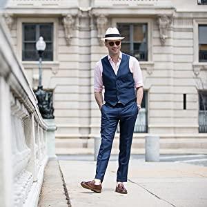 mens casual suit vest blue