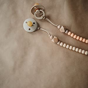 Mushie x The Dearest Grey Baby Pacifier Clip Holder | Handmade in The USA | Joy (White/Wood)