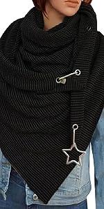 Sciarpa Donna Triangolare Calda Scialle Inverno Sciarpe Calde con Bottoni Stampa Scialli Plaid