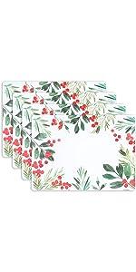 KAF Home Merry Wreath Print Cork Backed 4 Piece Place Mat Set