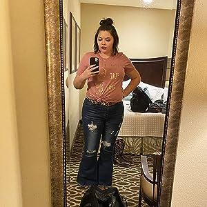 flare bell bottom jeans for women blue