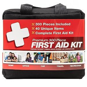 M2 BASICS 300 Piece Premium First Aid Kit with Hard Case