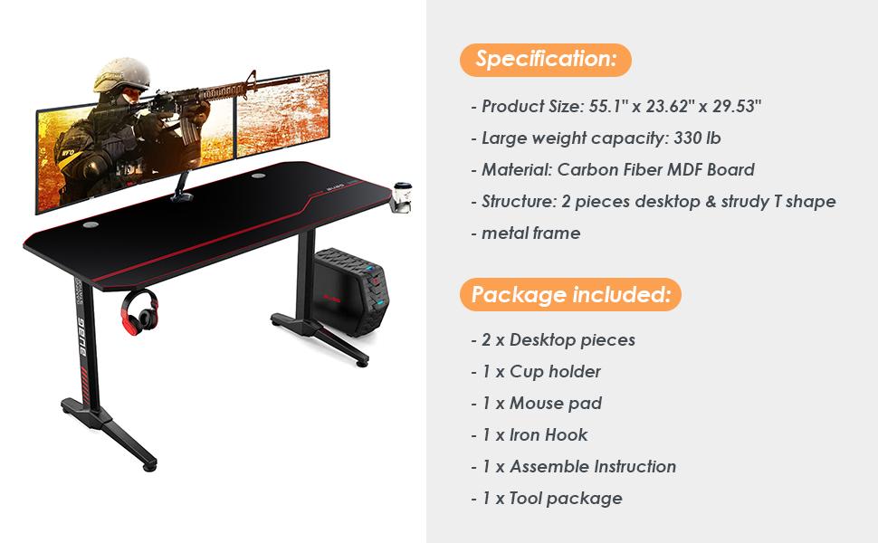 "55"" gaming computer desk"
